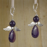 Bamboo Right View - Amethyst Angel Earrings on Silver Earwires (1330)