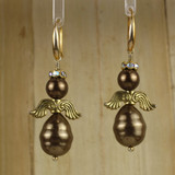 Bamboo Center View - Brown Imitation and Cultured Pearl Angels on Gold Plate (0097)
