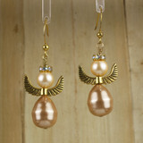 Bamboo Center View - Tan Imitation and Cultured Pearl Angels on Gold Plate (0098)