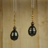 Bamboo Center View -  Dark Brown and Green Imitation Pearl on Gold Plate Earwires (1238)