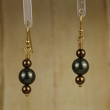 Bamboo Center View - Dark Brown and Green Imitation Pearl on Gold Plated Earwires (1240)