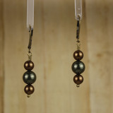 Bamboo Center View - Green and Dark Brown Imitation Shell Pearl in Antique Gold Earwires (1243)