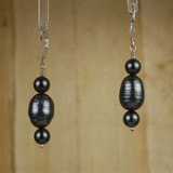 Bamboo Center View - Black Cultured Pearl and Black Imitation Pearl on Silver Earwires (1257)