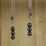 Bamboo Center View - Black Imitation Pearls on Silver Plate Earwires (1260)