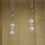 Bamboo Center View - White Imitation Shell Pearl on Silver Plate Lever-back Earwires (1242)