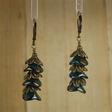 Bamboo Center View - Czech Glass Blue-Green and Antique Gold Flowers on Antique Gold Earwires (0442)