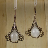 Bamboo Center View - Antique Copper Filigree Flower with Moonstone on Antique Copper Ear-wires (1066)