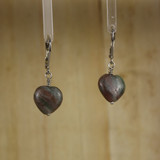 Bamboo Center View - Jasper Heart Earrrings on Silver plate Earwires (1080)