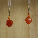 Bamboo Center View - Red Aventurine Hearts on Brass Earwires (0504)