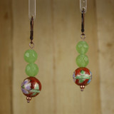 Bamboo Center View - Spring Sunset Orange Light Green Chrysoprase on Antique Copper Earwires (1421)