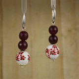 Bamboo Center View - Ruby Romance Red Chrysoprase on Silver Plate Earwires (1420)