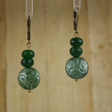 Bamboo Center View - Lush Luxury Dark Green Chrysoprase on Antique Copper Earwires (1419)