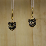 Bamboo Center View - Black Kitty #1 on Gold Plate Earwires (1438E)
