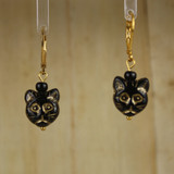 Bamboo Center View - Black Kitty #2 on Gold Plate Earwires (1438F)