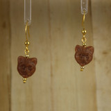Bamboo Center View - Brown Kitty #1 on Gold Plate Earwires (1438C)