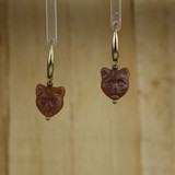 Bamboo Center View - Brown Kitty #2 on Gold Plate Earwires (1438B)