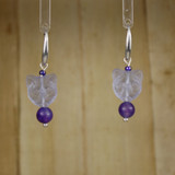 Bamboo Center View - Purple Kitty #1 on Silver Plate Earwires (1438D)