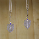 Bamboo Center View - Purple Kitty #2 on Silver Plate Earwires (1438A)