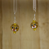 Bamboo Center View - Small Yellow Kitty on Silver Plate Earwires (1437A)