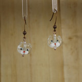 Bamboo Center View - Small Clear Kitty on Antique Copper Earwires (1437B)