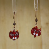 Bamboo Center View - Small Red Kitty on Antique Copper Earwires (1437C)