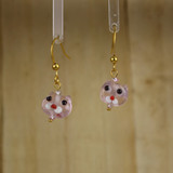 Bamboo Center View - Small Pink Kitty on Gold Plate Earwires (1437D)
