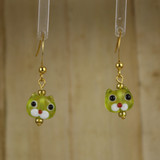 Bamboo Center View - Small Yellow-Green Kitty on Gold Plate Earwires (Copy of 1437E)