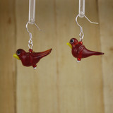 Bamboo Left View - Red Glass Bird on Silver Plate Earwires (1409A)