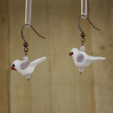 Bamboo Left View - White Glass Bird on Antique Copper Earwires (1409B)