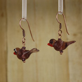 Bamboo Left View - Purple Glass Bird on Copper Earwires (1409L)