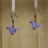 Bamboo Left View - Pale Purple Glass Bird on Antique Gold Earwires (1409F)