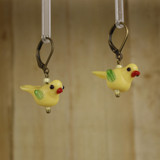 Bamboo Right View - Yellow Glass Bird on Antique Gold Earwires (1409H)