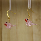 Bamboo Left View - Pink Glass Bird on Gold Plate Earwires (1409I)