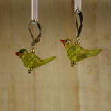 Bamboo Left View - Green-Yellow Glass Bird on Antique Gold Earwires (1409G)