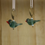 Bamboo Left View - Blue-Green Glass Bird on Antique Gold Earwires (1409J)
