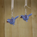 Bamboo Left View - Blue Glass Bird on Silver Plate Earwires (1409C)