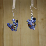 Bamboo Left View - Blue Porcelain Bird on Silver Plate Earwires (1395)