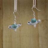 Bamboo Left View - Turquoise Blue and White Porcelain Bird on Silver Plate Earwires (1396)