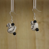 Bamboo Left View - Porcelain Swan on Silver Plate Earwires (1399)