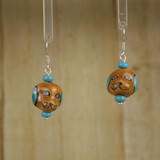 Bamboo Center View - Brown Porcelain Dog Head on Silver Plate Earwires (1394)
