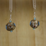 Bamboo Center View - Gray Porcelain Dog Head on Silver Plate Earwires (1393)