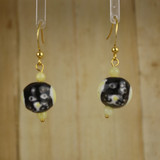 Bamboo Center View - Black Porcelain Dog Head on Gold Plate Earwires (1392)