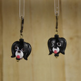 Bamboo Center View - Black Glass Dog Head on Antique Gold Earwires (1441A)