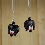Bamboo Center View - Black Glass Dog Head on Silver Plate Earwires (1441B)