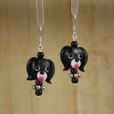 Bamboo Center View - Black Glass Dog Head #2 on Silver Plate Earwires (1441K)