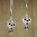 Bamboo Center View - Clear Glass Dog Head on Silver Plate Earwires (1441J)