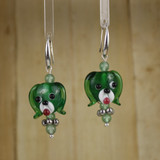 Bamboo Center View - Green Glass Dog Head on Silver Plate Earwires (1441I)