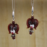 Bamboo Center View - Red Glass Dog Head on Silver Plate Earwires (1441E)