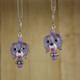 Bamboo Center View - Purple Glass Dog Head on Silver Plate Earwires (1441D)