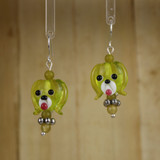 Bamboo Center View - Yellow-Green Glass Dog Head on Silver Plate Earwires (1441H)